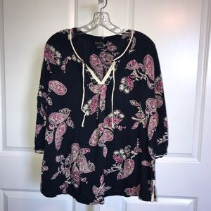 Lucky Brand Navy Paisley Tunic Top Embellished